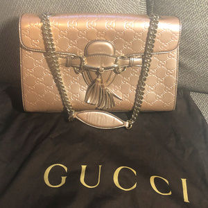 Gucci Pearl Coated Leather Emily Guccissima Sz M